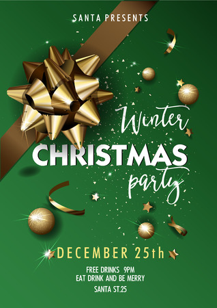 Merry Christmas party layout poster template. Design for your holiday invitation. Vector Illustration.
