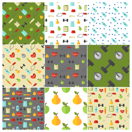 abstract paintings: Healthy lifestyle seamless pattern set. Vector wellness concept flat patterns collection.