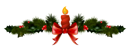 Christmas decorations with fir tree candle and decorative elements. vector illustration Vettoriali