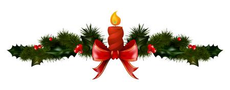 Weihnachtsdekorationen mit Tannenbaumkerze und dekorativen Elementen. Vektor-Illustration