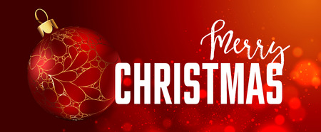 Christmas web banners set with red and gold ball and sparkle blurred background. Vector Illustration.