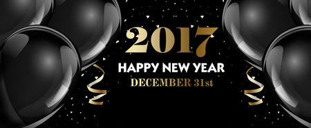 percent: Set of luxury Christmas, New Year banner templates with black hot air ballons. Vector Illustration Illustration
