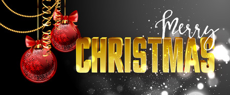 christmas backgrounds: Christmas web banners set with red and gold ball and sparkle blurred background. Vector Illustration.