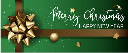 Merry Christmas or Happy New Year web banner design template. Greeting cards with golden bows and copy space. Vector illustration.