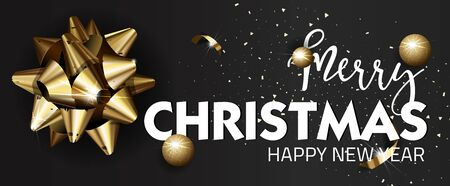 shine: Merry Christmas or Happy New Year web banner design template. Greeting cards with golden bows and copy space. Vector illustration.