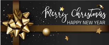 sheet of paper: Merry Christmas or Happy New Year web banner design template. Greeting cards with golden bows and copy space. Vector illustration.