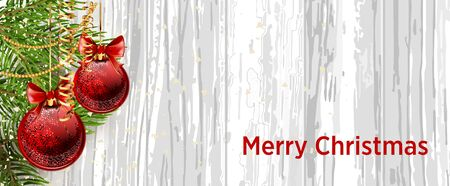 festive background: Christmas design with fir tree on wooden background. Web banner template. Vector Illustration. Illustration