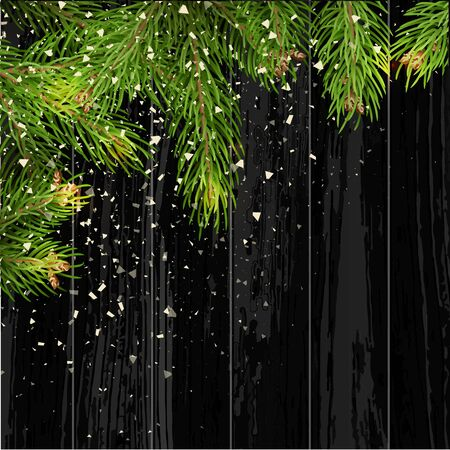 Christmas card background with fir tree and holidays decorations. Vector Illustration.