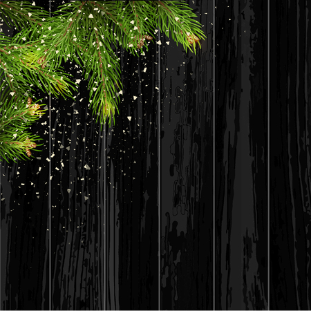 plaything: Christmas card background with fir tree and holidays decorations. Vector Illustration.