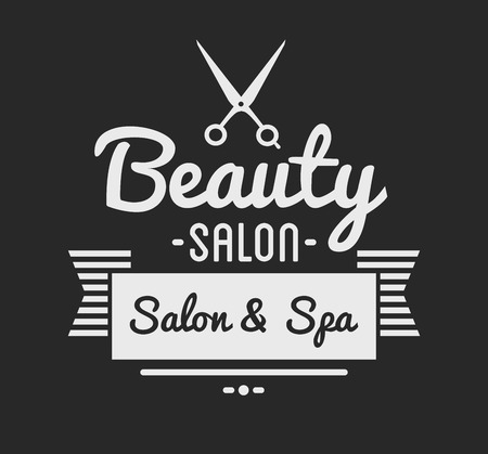 spa salon: Vintage barber shop logo and beauty spa salon badge. Vector element. Isolated icons on dark background Illustration