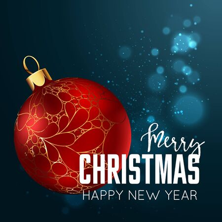Merry Christmas and happy new year design template card. Vector hiliday illustration.