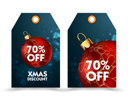 discount tag: Set of price tag with decoration ball or labels. special price, holiday discount. Christmas discount. Vector Illustration.