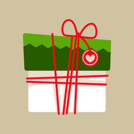 motivos navideños: Caja de regalo de Navidad para vacaciones. Ilustración vectorial. Vectores