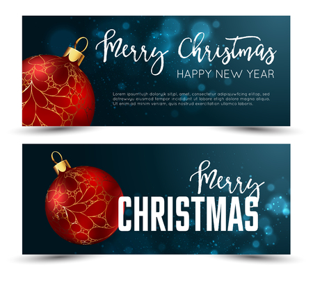 christmas backgrounds: Christmas web banners set with red and gold ball and sparcle blurred background. Vector Illustration.