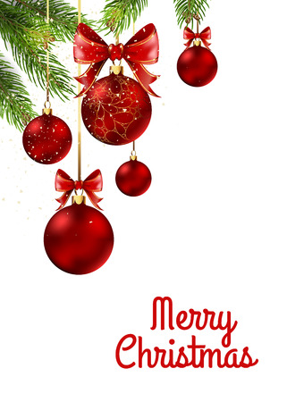 shiny background: Christmas balls with red ribbon and bows on white background. Vector Illustration.