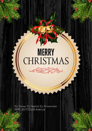 christmas celebration: Christmas background with golden frame and holiday decoration elements on black wooden background. Christmas greetings template design. Vector Illustration.