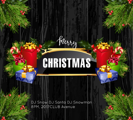 shiny background: Christmas background with golden frame and holiday decoration elements on black wooden background. Christmas greetings template design. Vector Illustration.