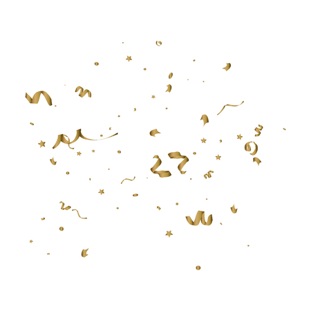 birthday party: Abstract background with falling golden tiny confetti pieces. Vector Illustration.