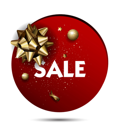 festive background: Christmas or New year holiday sale price circle sticker with golden Bow. Promotion advertisement design. Vector Illustration.