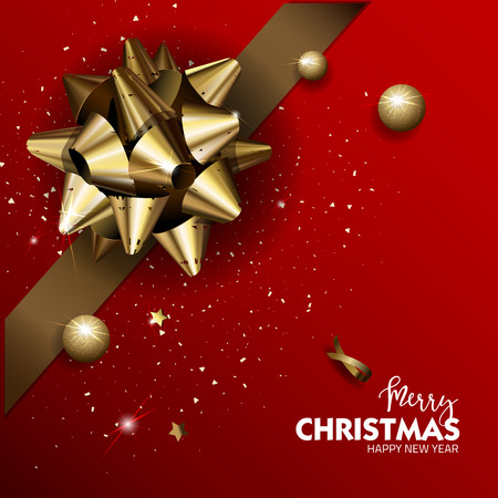 Elegant Merry Christmas or Happy New Year background with gold bow. Vector Illustration.