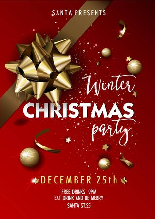 holiday invitation: Merry Christmas party layout poster template. Design for your holiday invitation. Vector Illustration.