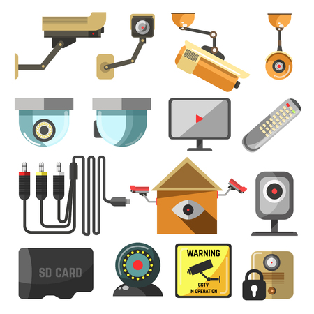 pictogramm: CCTV set. Security and surveillance elements collection. Hidden camera, street security video cameras. Vector Illustration. Isolated on white. Illustration