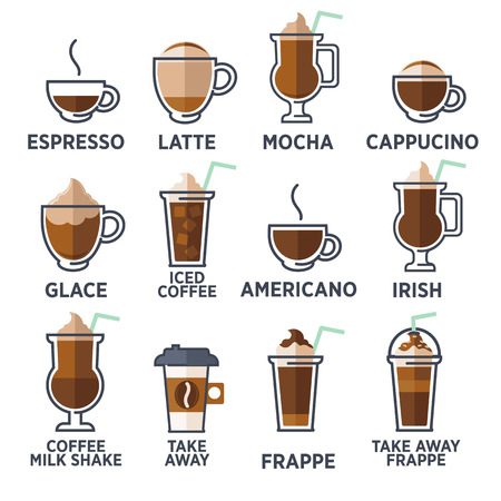 Coffee types or kinds set. Vector Illustration Vettoriali