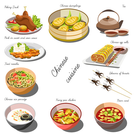 Chinese cousine set. Collection of food dishes for the decoration of restaurants, cafes, menus. Vector Illustration. Isolated on white.