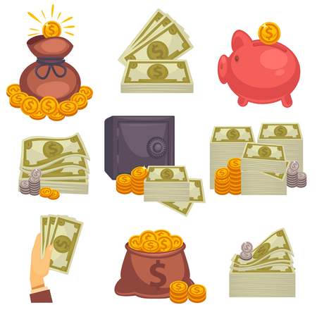 Paper money and money bag. Concept of big money. Vector icon set. Illustration