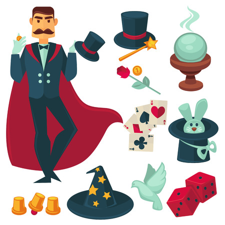 stage costume: Magician holding golden coin. Vector Illustration. Illusionist magic show collection design elements.