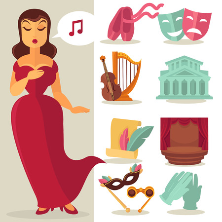 Theatre acting performance icons set with singing actress. Vector Illustration. Ilustração