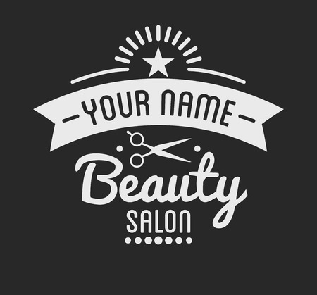 beauty shop: Vintage barber shop logo and beauty spa salon badge. Vector element. Isolated icons on dark background Illustration