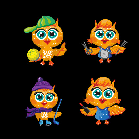 personages: Vector set of cute owls. Cartoon characters of different professions. Make-up artist, hockey player, Santa Claus, hairdresser, athlete, housewife and other occupations. Isolated illustration on white Illustration