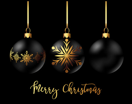 christmas celebration: Black Christmas decoration balls collection on black background. Confetti backdrop design. Vector Illustration.