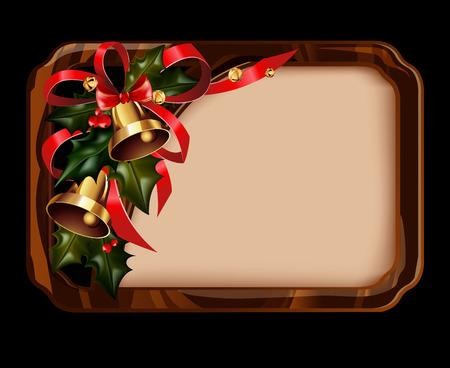 Vector illustration of shiny golden jingle bells in wooden border rectangle with copy space for text. Christmas element. Illustration