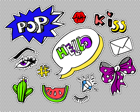 stars: Fashion modern doodle cartoon patch badges or stikers with speach bubbles, stars, heart, lips and other elements. Set of cartoon pins in 80s 90s pop art. Illustration.