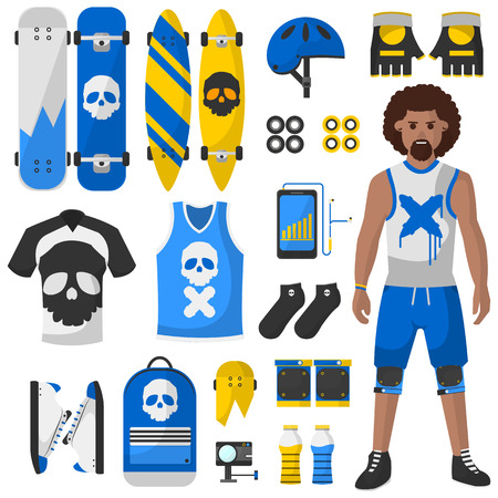 elbow pad: Skateboard equipment vector set. Roller skating and skateboarding protective gear.
