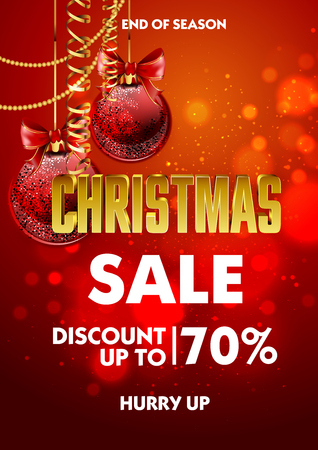 christmas celebration: Christmas sale design poster template with shiny decoration ball. Discount advertising. Vector Illustration. Illustration