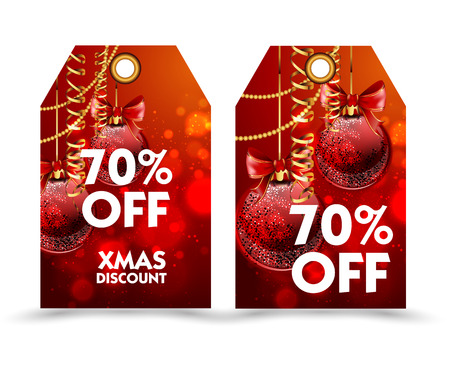 quality guarantee: Set of price tag with decoration ball or labels. special price, holiday discount. Christmas discount. Vector Illustration.