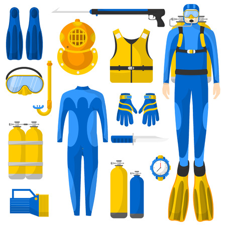 speargun: Diving equipment or elements set. Scuba diver man in wetsuit. Aqualung, oxygen cylinders, depth gauge, flashlight, snorkel and mask, flippers, gloves, speargun. Vector Illustration. Illustration