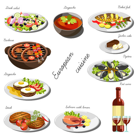 European cousine set. Collection of food dishes for the decoration of restaurants, cafes, menus. Vector Illustration. Isolated on white. Illustration