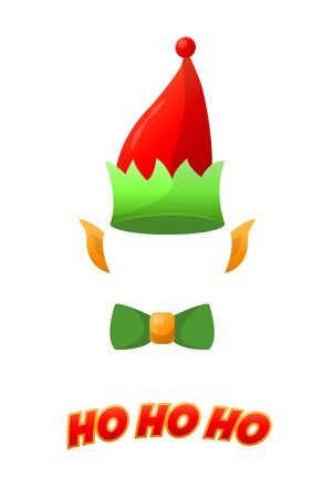 botas de navidad: Christmas elf hat isolated on white background, holiday costume. vector illustration