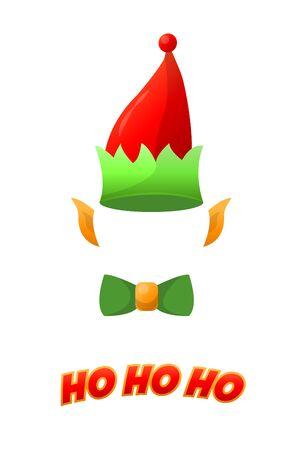 Christmas elf hat isolated on white background, holiday costume. vector illustration