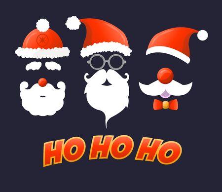Santa hat, moustache and beard. Christmas elements for your festive design.