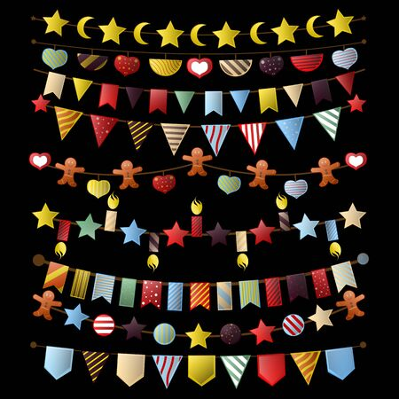 Colorful bunting and garland set. Vector Illustration. isolated on white