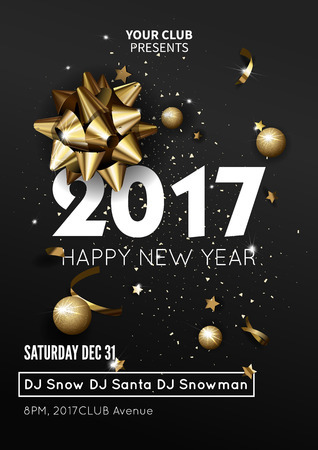 luxury template: Happy New Year 2017 greeting card or poster template flyer or invitation design. Beautiful luxury holiday background with 3D golden gift bow. Vector Illustration. Illustration