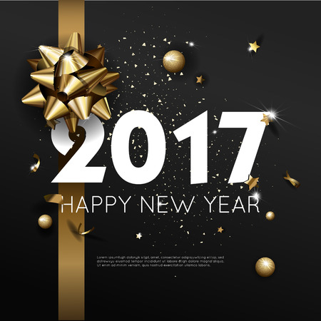 Happy New Year 2017 greeting card or poster template flyer or invitation design. Beautiful luxury holiday background with 3D golden gift bow. Vector Illustration. Illustration