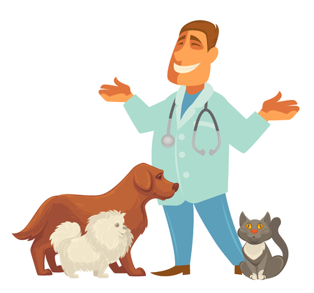doctor appointment: Smiling Male veterinarian. illustration of a veterinarian with a cute puppy dog and cat .