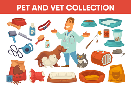 stuff toy: Dog cat pet stuff and supply set icons. Flat vector illustration. Domestic animals, puppy toy and things for care and smiling veterinarian isolated collection.