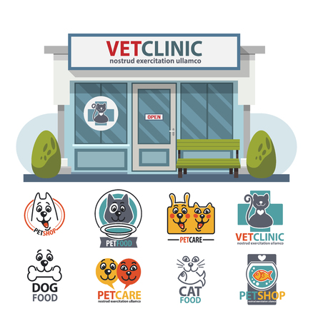 shop for animals: Veterinary medicine hospital, clinic or pet shop for animals. Vet or veterinarian clinic. Healthcare or treatment for wild or domestic animals. Facade exterior view with vet logo badges collection set Illustration